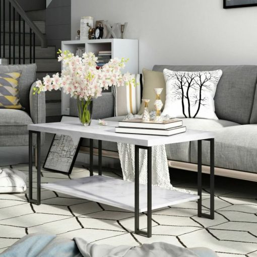 wexler marble coffee table metal frame with lower shelf