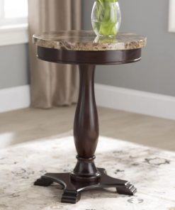 yvoire wood base and marble veneer top end table