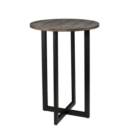 zandra burnt oak tabletop and powder coated metal tube frame pub table