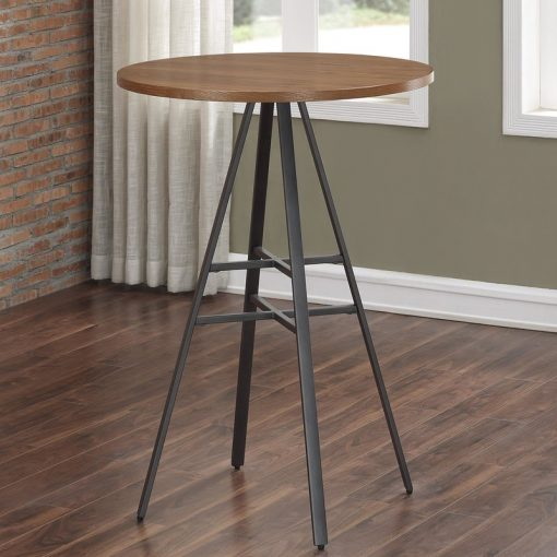 zinnia round golden oak top and metal base pub table
