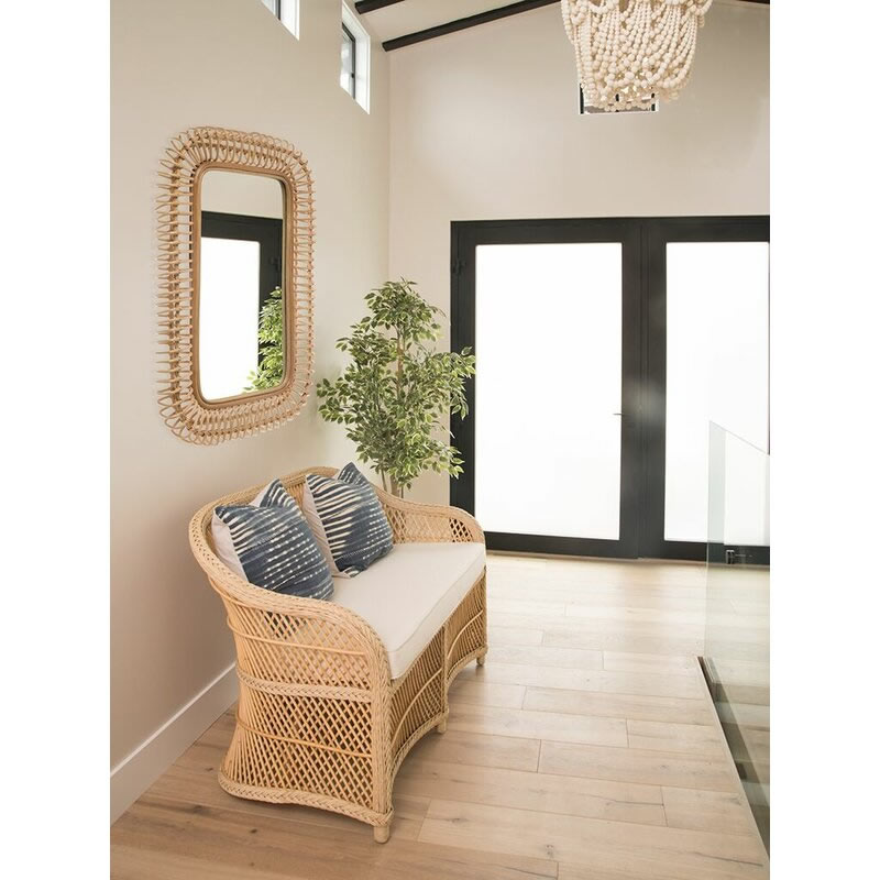 Bamboo Weave Accent Wall: Ainsley Coastal Rectangle Hand Woven Rattan Accent Wall